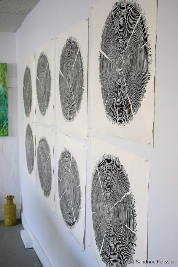 drying the prints in the studio