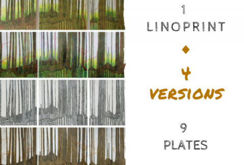 4 versions of the same linoprint by North Vancouver artist Sandrine Pelissier