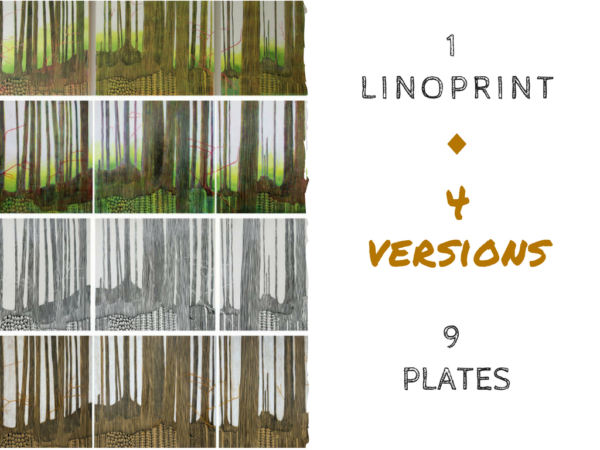 4 versions of the same linoprint by North Vancouver artist Sandrine Pelissier