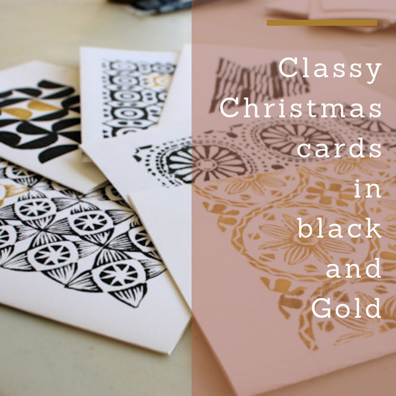 Name A Animal You Might See On A Christmas Card.Classy Handprinted Christmas Cards In Black And Gold