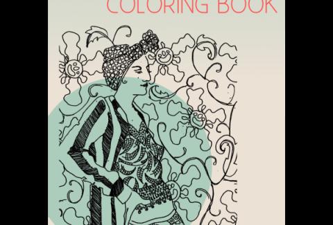 Patterned figures coloring book social media
